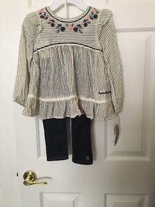 NWT Beautiful Calvin Klein Jeans Girls 100% Cotton Tunic + Jeans Leggings set, 5