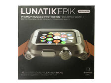 LUNATIK EPIK-012 - Black Aluminum & Brown Leather Band for Apple Watch 42mm -NO