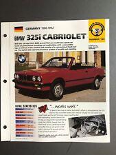 """1986 - 1992 BMW 325i Cabriolet IMP """"Hot Cars"""" Spec Sheet Folder Brochure Awesome"""