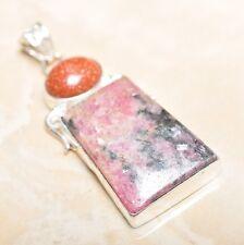 "Handmade Pink Rhodochrosite Gemstone 925 Sterling Silver Pendant 2.25"" #P14542"