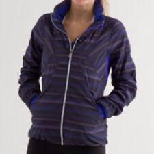 EUC Lululemon Run Hustle Jacket Hoodie Size 2 Wish Blue Poncho Stripe Reflective