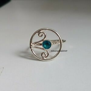 Beautiful Blue Topaz Ring 925 Sterling Silver Plated Ring Size 9.5 xt52