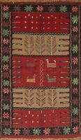 Geometric Tribal Kilim Hand-Woven Area Rug Classic Oriental Kitchen Carpet 4'x6'