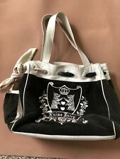 Juicy Couture Brown Baby Pink Velour Leather Satchel Tote Handbag PURSE VTG 00s