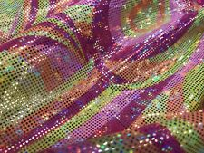 PINK-MULTI COLOR PAISLEYS IRIDESCENT NYLON 2 WAY STRETCH SPANDEX-SOLD BY YARD.