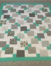 """Quilt Top~ & Grays & Blue on White 52""""X 64"""". Patchwork~Pieced.(#4)U.S.A."""