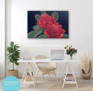 Waratah fine art print_stretched canvas_corrugated iron_Aussie Artist