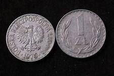 Poland Polish 1 Zloty Zlotych 1976 Republic Coin zł Communist Circulated