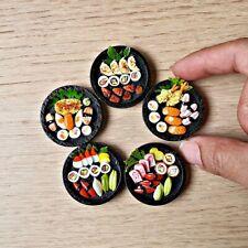 Dollhouse Miniature Food Japanese Sushi Sashimi Bento Set 5 Pcs Mini Tiny Supply