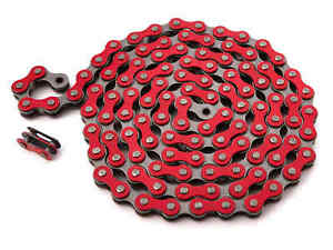 "KHE BMX Fixie Chain 1/2 "" x 1/8 "" Red 112 Links Left Only 13.6oz With Chain Lock"