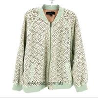 Victoria Beckham Green Lace Bomber Jacket Size 2X