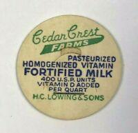 Cedar Crest Farms H. C. Lowing & Sons Fortified Dairy Vintage Milk Bottle Cap