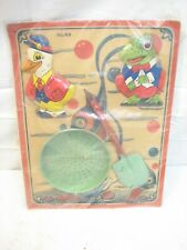 Chein No. 49 Tin Litho Beach Sand Toys on Card Duck Frog Shovel Sifter