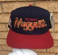 90s VTG Sports Specialties Script Snapback Hat Denver Nuggets Youngan Cap NBA DS