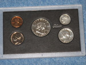 1960 Small Date US Silver Proof Set with Frosted Franklin Half Dollar B8517