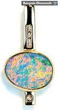 black opal + diamonds 14K pendant Australian unisex opale opalo men women gold