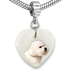 Bichon Frise Dog Heart Mother Of Pearl European Bracelet Charm Bead EBS277