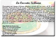 MAGNETE CALAMITA FRIGO FRIDGE MAGNET RICETTA CASSATA SICILIANA RICOTTA