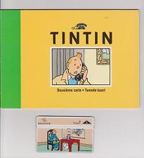Tintin. Deuxième carte Belgacom 1996. Carte téléphonique Lotus Bleu.
