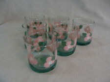 Vtg Libbey 6 Tumblers Rock Juice Glasses 10 Oz, Green Base To Clear Pink Flowers