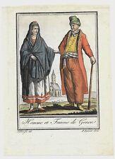 1797ca HOMME ET FEMME DE GENEA acquaforte Saint-Sauveur costume Genova Liguria