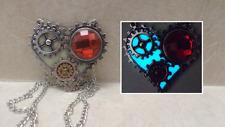 Steampunk GEAR HEART GLOW in the DARK Aqua Crystal Charm Pendant Necklace