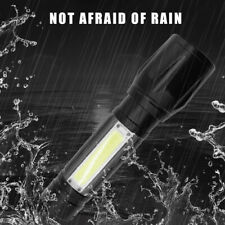 Light Flashlight T6 3-Mode Torch LED Portable Zoomable Rechargeable COB Lamp USB
