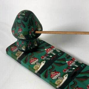 Vintage 1990s Mushroom Green Ceramic Statute Incense Burning Tray Stand Holder