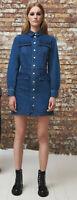 Warehouse Womens Long Sleeve Cotton Denim Jacket Short Dress Top 8 10 12