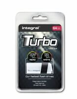 Integral TURBO 64GB USB 3.0 Flash Drive Up To 390MB/s Read / 95MB/s Write.