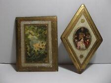 Vintage Italian Florentine TOLEWARE Wood Wall Plaques Set Of 2