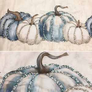 Nicole Miller Beaded Pumpkin Gourd Table Runner Blue Cream Thanksgiving 14x72