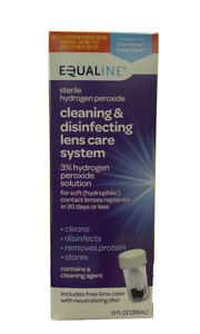 Equaline Cleaning & Disinfecting Lens Care System. 3% Hydrogen Peroxide 12 fl oz