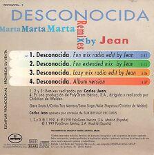 """MARTA SANCHEZ """"DESCONOCIDA REMIXES BY CARLOS JEAN"""" RARE SPANISH PROMO CD MAXI"""