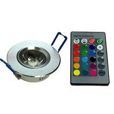3w LED RGB Foco empotrado de Luz lámpara techo Rendondo con control remoto
