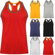 NEW MENS VEST 100% COTTON TANK TOP LOT TRIM MUSCLE SLEEVELESS SUMMER BEACH