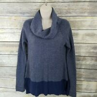 Toad & Co Size M Cowl Neck Sweater Merino Wool Blue Gray Ribbed READ