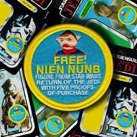 "Kenner STAR WARS ""FREE NIEN NUNB"" Vintage style mail away figure offer 3.5 patch"