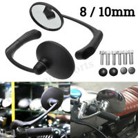 Pair 8/10mm Universal Motorcycle Round Rearview Side Mirrors For Bobber