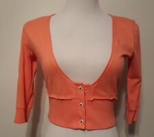 Lux Urban Outfitters Crop Peach Shirt Cardigan Sz S