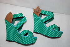 "Womens PLATFORM WEDGES 5"" High Heels GREEN w/ BLUE DOTS Strappy Open Toe SZ 7.5"