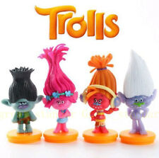 4 pcs Trolls Movie Poppy Guy Diamond Branch DJ Suki Toys Figurine Cake Topper
