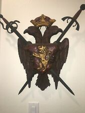 Antique Medieval Wall Hanging. Coat Of Arms SwordsEagle Background. Metal & Wood