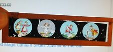 2 x  Antique Painted Magic Lantern Slides 1900s hunting scene & children playing