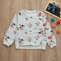 Toddler Kid Baby Girl Long Sleeve Floral Print Warm Casual T-Shirt Blouse Winter