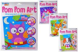 Childrens Craft Kits - POM POM ART - 4 Designs - Kitten Fox Unicorn Owl