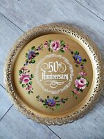 Vintage 1950's Nashco painted Tole ware 50th Anniversary gold Serving Tray USA