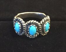 Sterling Silver 3 Stone Sleeping Beauty Turquoise Gemstone Ladies Size 8 Ring