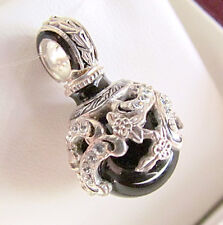 SALE ! SUPERB RUSSIAN EGG PENDANT STERLING SILVER 925 with GENUINE ONYX