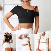 Women Casual Short Sleeve Tank Tops Vest Blouse Crop Top Summer Short T Shirt